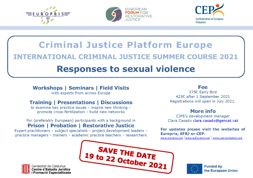 Criminal Justice Summer Course on Sexual Violence (19-22 October 2021) Cancelled
